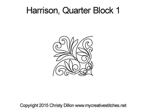 Harrison quarter block 1 quilting pattern