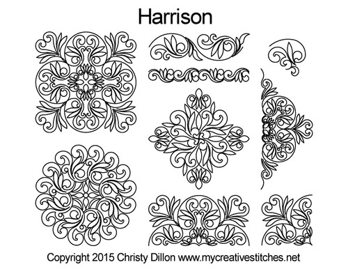 Harrison computerized quilting pattern set