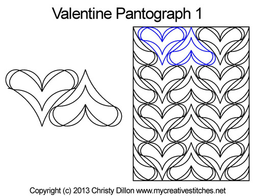 Valentine long arm quilting pantograph 1