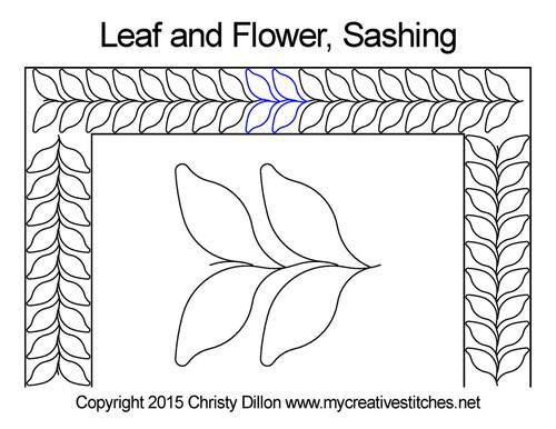Leaf and flower sashing quilt pattern