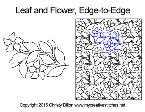Leaf and flower edge-to-edge quilt pattern