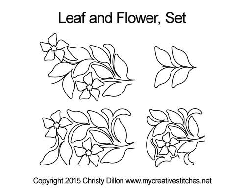 Leaf and flower digitized quilt pattern set