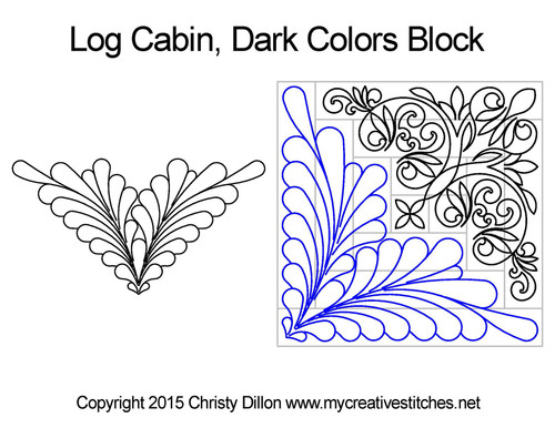 Log cabin dark colors block quilt design
