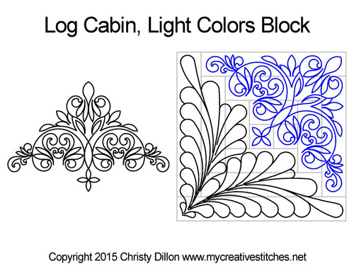 Log cabin light colors block quilt design