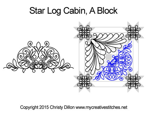 Star log cabin quilting pattern for A block