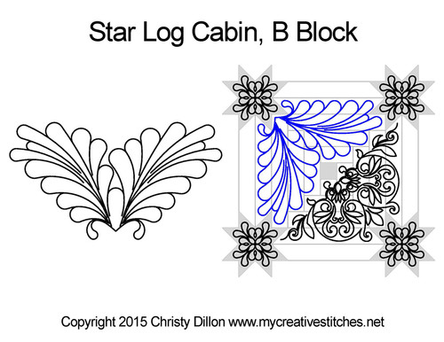 Star log cabin quilting design for B block