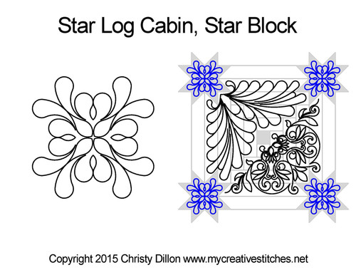 Star log cabin star block quilt pattern