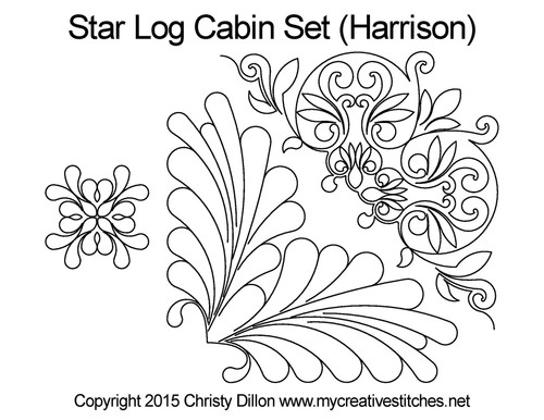 Star log cabin quilting pattern set