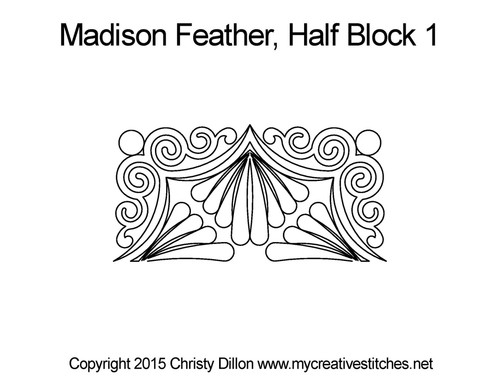 Madison feather half block 1 quilt pattern