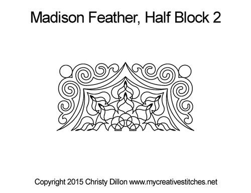 Madison feather half block 2 quilt pattern