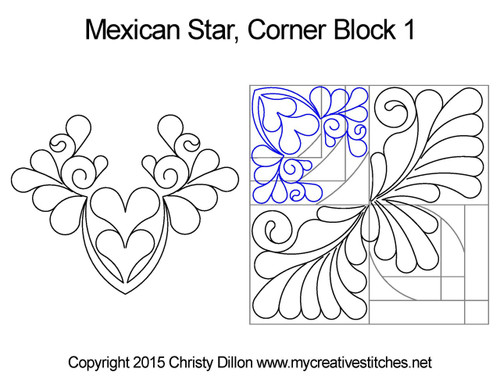 Mexican star corner block 1 quilt design