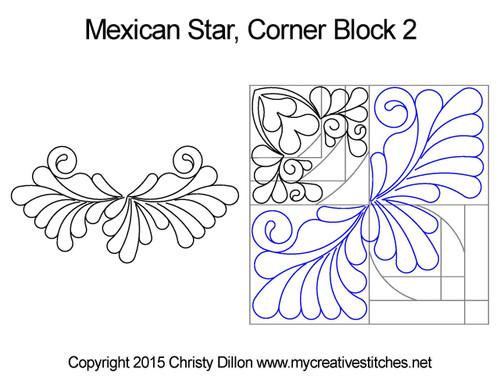 Mexican star corner block 2 quilt design