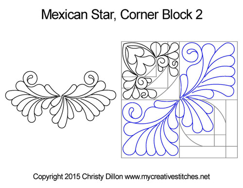 Mexican star corner block 2 quilt design