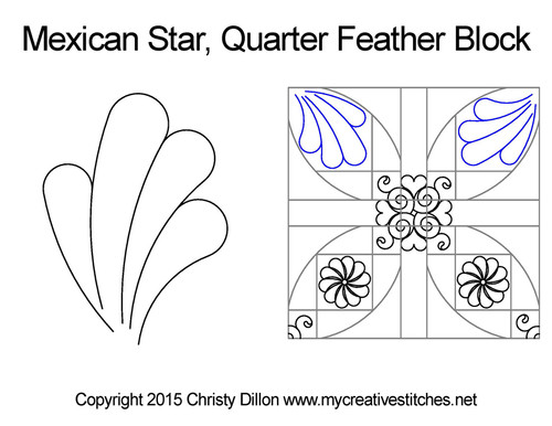 Mexican star quarter feather block quilting
