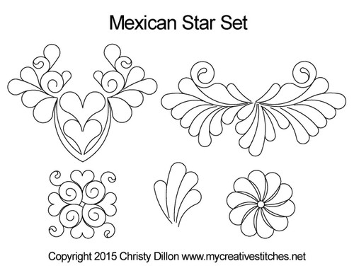 Mexican star digitized quilt pattern set