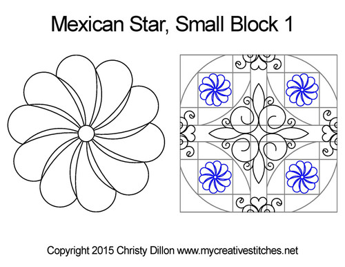 Mexican small quilting designs for star block 1