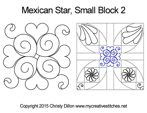 Mexican small quilting designs for star block 2