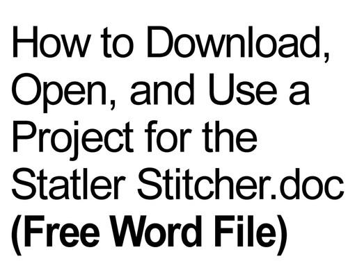Statler stitcher free word file