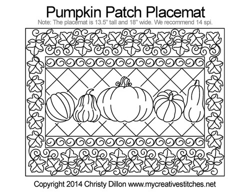Pumpkin patch free quilting placemat project