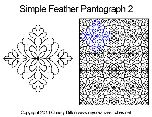 Simple feather quilting pantographs 2 patterns