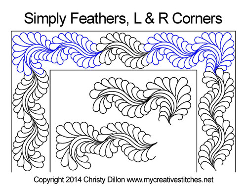 Simply feathers L & R corner quilt ideas