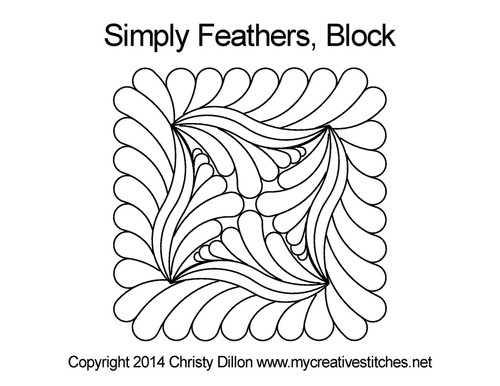 Simply feathers quilting design for blocks