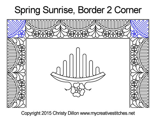 Spring sunrise border & corner quilting