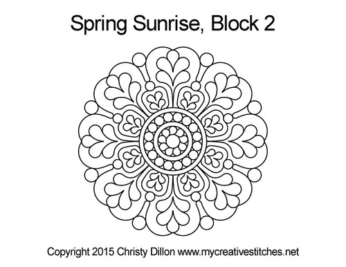 Spring sunrise quilting pattern for block 2