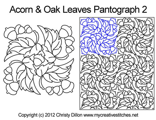 Acorns & Oak leaves digitized quilt pantographs