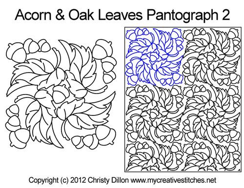 Acorns & Oak leaves digitized quilt pantographs