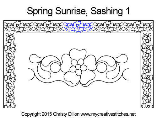 Spring sunrise sashing 1 quilting design