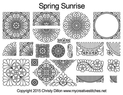 Spring sunrise digitized quilting designs free set