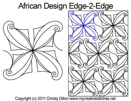 African design edge to edge digital quilt design