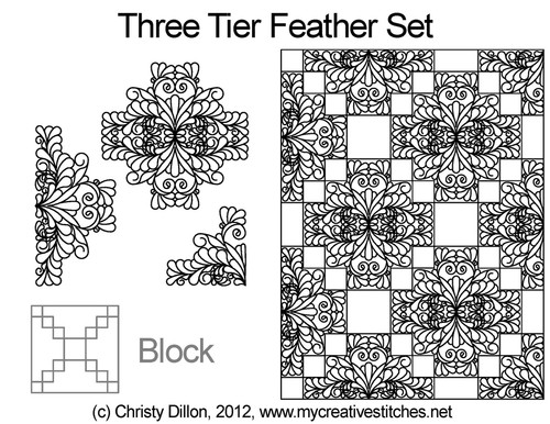 Three tier feather quilting block design