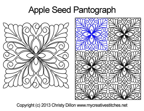 Apple seed long arm quilting pantographs