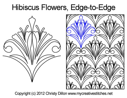 Hibiscus flowers edge to edge digital quilt pattern