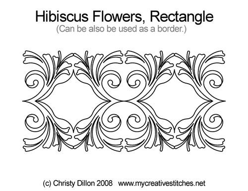 Hibiscus flowers rectangle quilt design