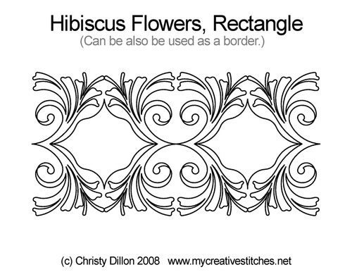 Hibiscus flowers rectangle quilt design