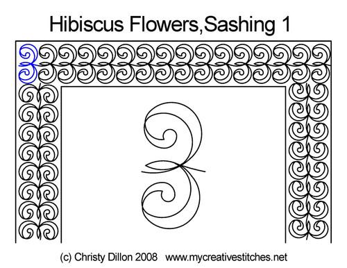Hibiscus flowers sashing 1 quilting pattern