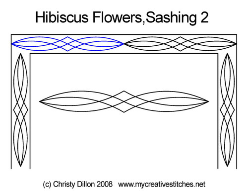 Hibiscus flowers computerized sashing 2 quilt pattern