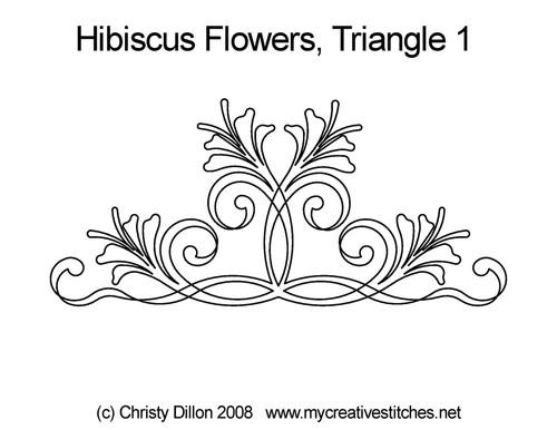 Hibiscus flowers triangle quilt designs