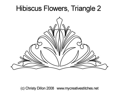 Hibiscus flowers quilting design for triangle 2