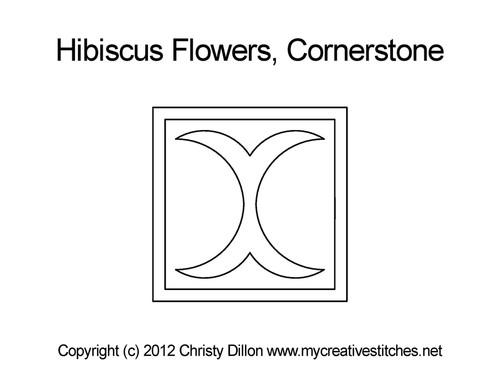 Hibiscus flowers cornerstone quilting design