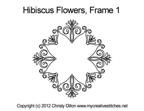 Hibiscus flowers digital frame quilt designs