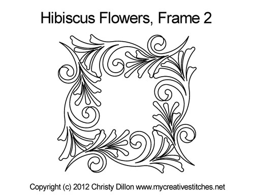 Hibiscus flowers computerized frame 2 quilt design