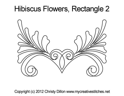 Hibiscus flowers rectangle 2 quilt design