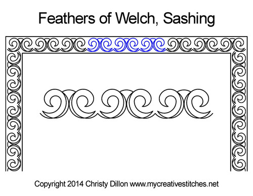 Feathers of welch sashing quilt pattern