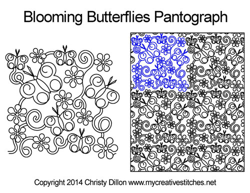 Blooming butterflies quilt pantographs patterns