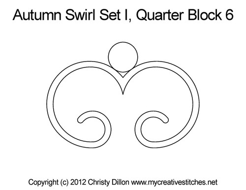 Autumn swirl quarter quilting pattern for block 6