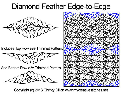 Diamond feather edge to edge designs